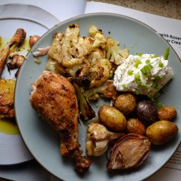 Crispy Chicken Legs with Rosemary, Tiny Potatoes, and  Greek Yogurt