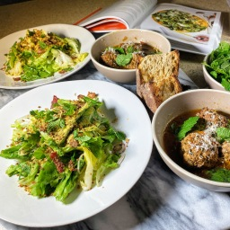 Spicy Pork Meatballs & Escarole Salad