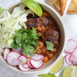 Pork & Red Chile Stew w/ Tomatillos